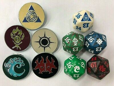 Ravnica Allegiance Guild Kit Dice Set D20 spindown & Guild pins