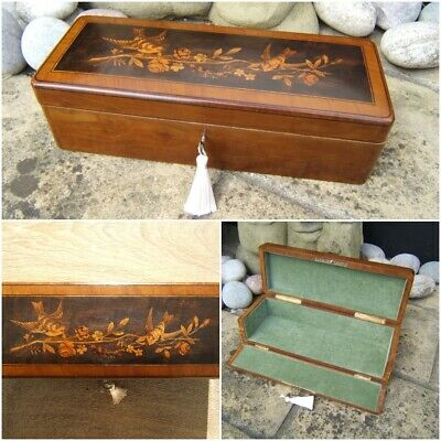 SUPERB 19c RARE SORRENTO INLAID ANTIQUE DOCUMENT/JEWELLERY BOX  FAB INTERIOR