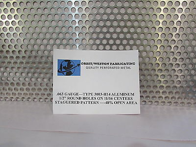 "1//2/"" ROUND HOLE--.063 THICK ALUMINUM PERFORATED METAL--12/"" X 12/"""