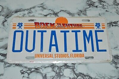 NEW Vintage BACK TO THE FUTURE Universal Studios Florida OUTATIME License Plate
