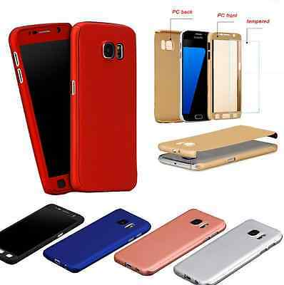 360 Full Hybrid Tempered Glass Hard Case Cover For Samsung Galaxy Note S6 7 8 9