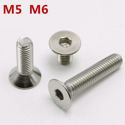 304 Stainless Steel Hex Socket Flat Head Screws and Nuts M5 M6*10/20/25/30/40mm