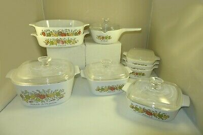Vintage Corning Ware Spice of Life 14 Pieces Lot Casserole Dishes Pyrex Lids