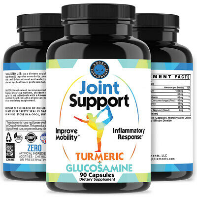 Joint Support Turmeric and Glucosamine Anti Inflamatory Mobility NON-GMO 90 Ct