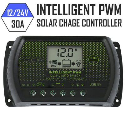 LCD Solar Panel Battery Regulator Charge Controller Dual USB 30A 12V/24V 2019