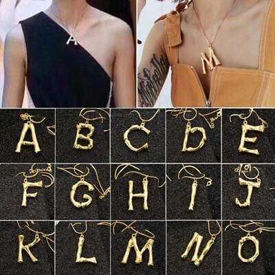 Womens Big Rock Gold Plated Alphabet Initial Letter Pendant Chain Necklace A-Z