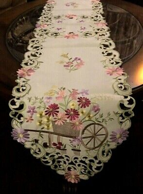 "Flower Cart Table Runner 68""x 13"" Wildflower Embroidered Dresser Scarf Runner"
