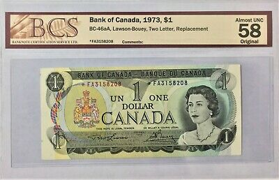 1973 Bank of Canada $1 *FA Replacement BCS Graded Almost UNC 58 #35093