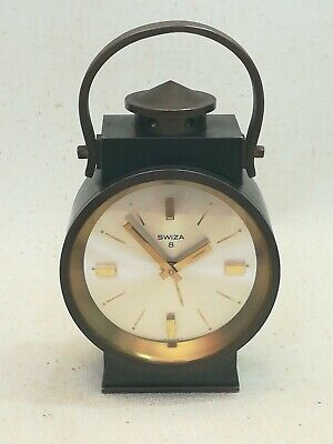 Vintage Swiza 8 Days Heavy Solid Brass Alarm Clock WORKS!