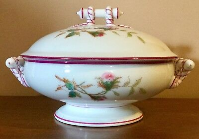 Haviland Limoges France Moss Rose Pink Large Covered Casserole Vegetable Bowl