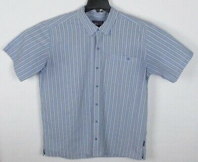 Patagonia Mens XL Blue Plaid Checkered Short Sleeve Button Up Textured Shirt