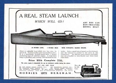 STEAM LAUNCH - Hobbies, Dereham.  (1922 Advertisement)