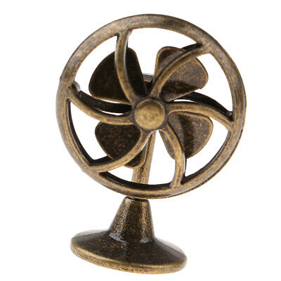 MagiDeal 1/12 Dollhouse Miniature Ornament Furniture Metal Table Fan Bronze
