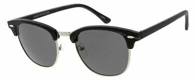 0e72b393f71 CLUBMASTER STYLE SUNGLASSES Black w  Gold Half Frame Hipster Shades ...