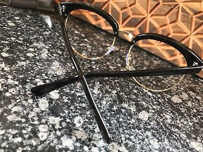 35a498d8966 Clubmaster   Cat eye Style Nerd Glasses Black w  Gold Half Frame Hipster  Large