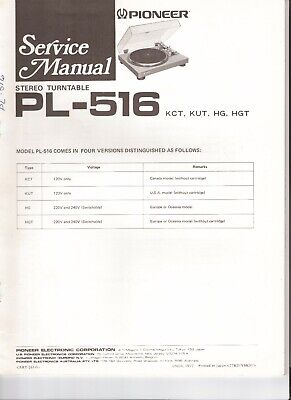 Pioneer PL-516 Original Service Manual. Money Back Guaranty