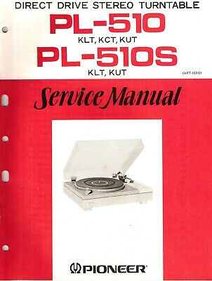 Pioneer PL-510. PL-510S Original Service Manual. Money Back Guaranty