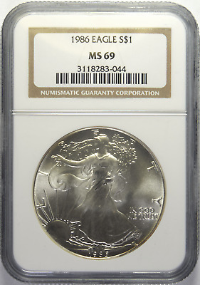 1986 Silver American Eagle NGC MS-69 (3/6)