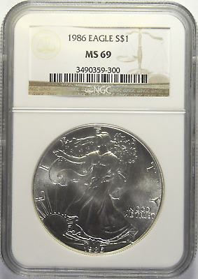 1986 Silver American Eagle NGC MS-69 (6/6)