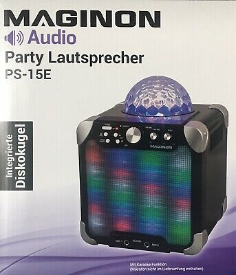 MAGINON PS-15E Audio Party Lautsprecher Bluetooth m. Karaoke Funktion Diskokugel