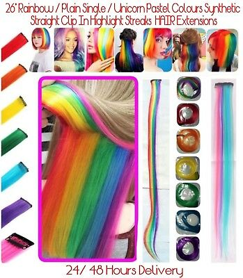 """26""""  Rainbow Colour / DIY Clip  - In Hair Extensions 24 Hours Delivery UK Stock"""