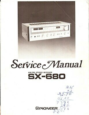 Pioneer SX-680 Original Service Manual. Money Back Guaranty