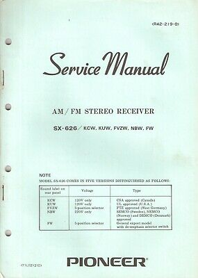 Pioneer SX-626 Original Service Manual. Money Back Guaranty