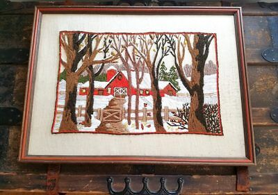 Vintage Framed Crewel Rustic Tapestry Wall Art Trees Farmhouse Winter Landscape