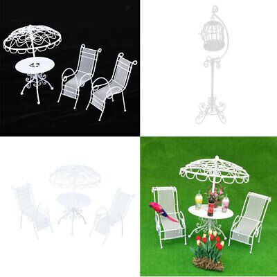MagiDeal Dollhouse Furniture Outdoor Mini Table Chairs &Birdcage Model White