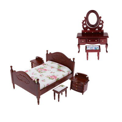 MagiDeal 6pcs 1:12 Dollhouse Furniture Retro Bed Cabient &Dressing Table Set