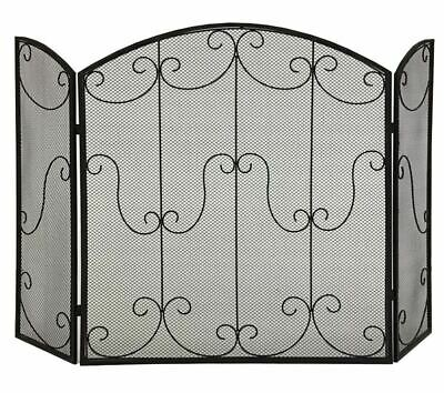 Decorative Fire Screen Guard Shield 3 Panel Fireplace Firescreen Black 106X79Cm