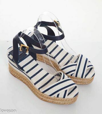 43251897643e TORY BURCH Ivory Navy Striped Canvas Ankle-Strap Platform Wedge Sandals 10 B