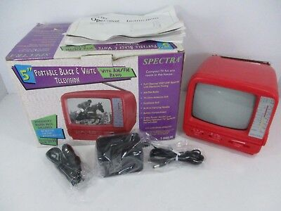 "Spectra 5"" Portable Black & White TV With AM/FM Radio - Red / Pink - Working"