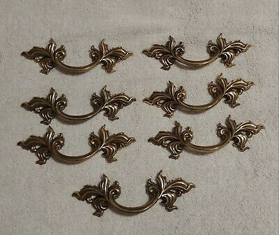 """Belwith Brass French Provincial Drawer Pulls 3"""" Bore Gold Set Of 7 Model 782-A"""