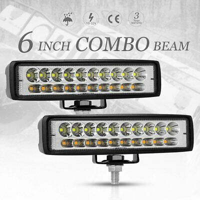 2x 6 inch 60W CREE LED Work Light Bar Spot Flood Driving Offroad Fog Lamp Truck