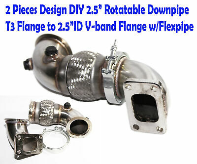 """T4 Flange to 3/""""ID V-band 2PCs 90 Degree SS Elbow Adapter Downpipe w//Flexpipe"""
