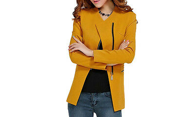 Zip Blazer Jacket, Tailored fit. MUSTARD. 3 sizes. Collarless design. NEW