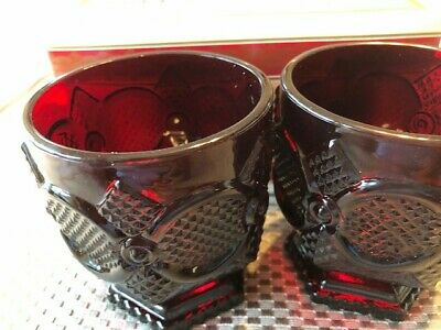 Vintage Avon 1876 Cape Cod Collection Footed Glass Set Ruby Red Set of 2