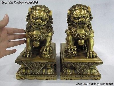 10 Palace Brass Copper Door Guardian Evil Feng Shui Fu Foo Dog Lion Statue Pair