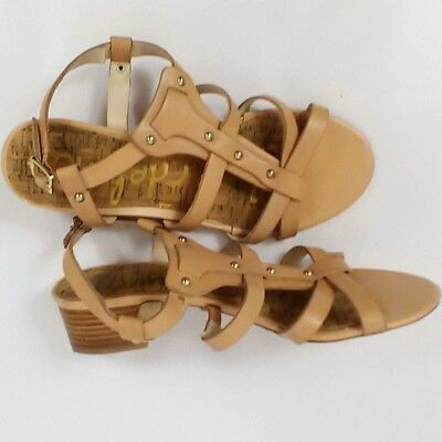 ec429c910 Sam Edelman Sandals Size 7.5 Womens Tan Studs Strappy Block Heel Gladiator  5.5UK