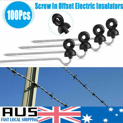 100pcs Screw In Electric Fence Offset Insulator Wood Timber Post Insulators Tape