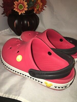 546659b48f99ce Crocs Disney Mickey Mouse Unisex Kids Clogs Sandal Shoes Size J1 Red white