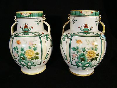 """Pair Hand Painted Nippon Double Handle Floral Vases 5 5/8""""h"""