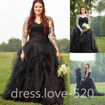 PLUS SIZE GOTHIC Black Wedding Dresses Vintage Sweetheart Country Bridal  Gowns