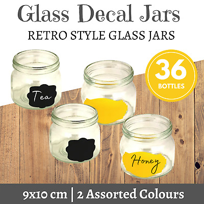 36 x SMALL GLASS JARS WITH LABELS | Food Storage Wedding Favours Arts & Crafts