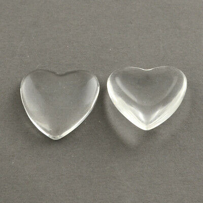 Wholesale Clear Glass Heart Cabochons Jewelry Setting Cover Transparent 8~30mm