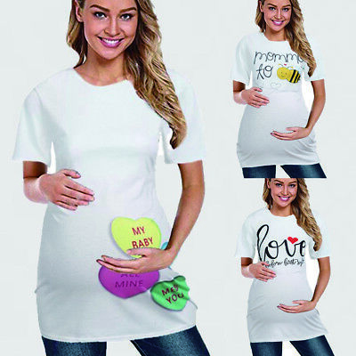 Pregnant Womens Funny Maternity Tee T-shirt Short Sleeve Tops Pregnancy Blouse