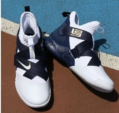 f5dc8288cb5 Nike Lebron Soldier XII 12 SFG Mens AO4054-100 White Midnight Navy Size 10  US