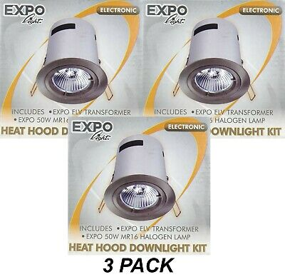 3 x Satin Chrome Round Gimble Downlight Kits w Heat Hood 12V 50W MR16