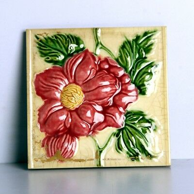 Vintage Majolica Decorative Rose Flower Art Nouveau Architecture Tiles Japan